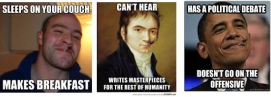 """Unknown author, Unknown year. """"Good Guy Greg, Good Guy Obama, and Good Guy Beethoven"""""""
